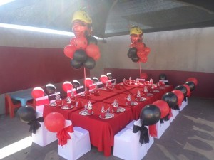 A Ladybug party set-up by Hassle Free Kids Party